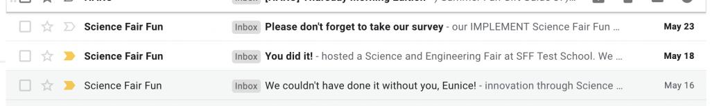 Science Fair Fun Emails