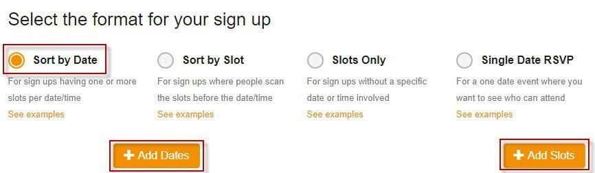 SignUpGenius sign up format