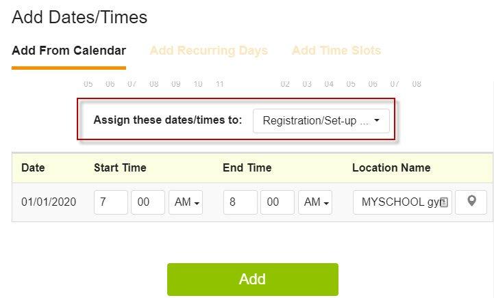 SignUpGenius add dates